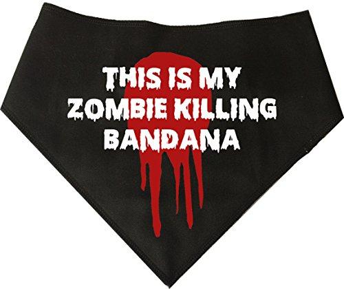 Spoilt Rotten Huisdieren S1 Dit is Mijn Zombie Killing Bandana, Extra Kleine, Zwarte Hond Bandana. Lopen Dode Fancy jurk hond kostuum. Geschikt voor Miniatuur Honden, Dachshunds & Katten