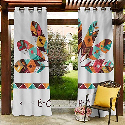 ScottDecor Boho Patio Curtain Panel for Pool/Gazebo/Lawn Pastel Colored Artistic Feathers Native Primitive Tribal Cultures Abstract Ornament Multicolor 108' W by 96' L(K274cm x G243cm)