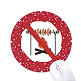 no logo barbecue red mouse pad round rubber wheels