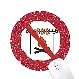 pas de barbecue du logo tapis de souris rouges rondes roues en caoutchouc