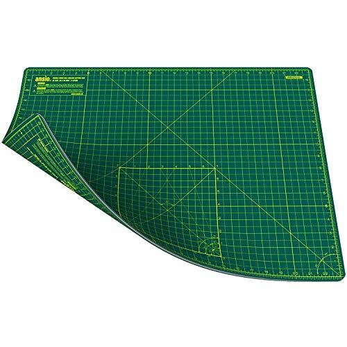 ANSIO Schneidematte Selbstheilende A2 Doppelseitige 5 Schichten sassend für Kunst, Nähen - Imperial/Metric 22.5 x 17 Zoll / 59 x 44 cm - Grün