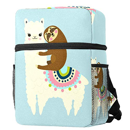 LORVIES Kids Backpack Cute Fluffy Llama Alpaca Sloth Best friends Lightweight Preschool Rucksack for Little Boys and Girls with Water Bottle Pockets