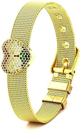 Mesh pulseras brazalete pulsera de la correa de Halloween de acero inoxidable reloj for hombre del brazalete en forma de corazón de las mujeres amantes de los hombres circón Ronda encanto de la pulser