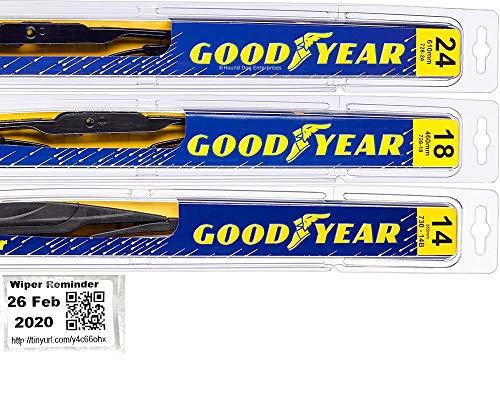 Windshield Wiper Blade Set/Kit/Bundle for 2009-2013 Subaru Forester - Driver, Passenger Blade & Rear Blade & Reminder Sticker (Premium with Goodyear Rear)