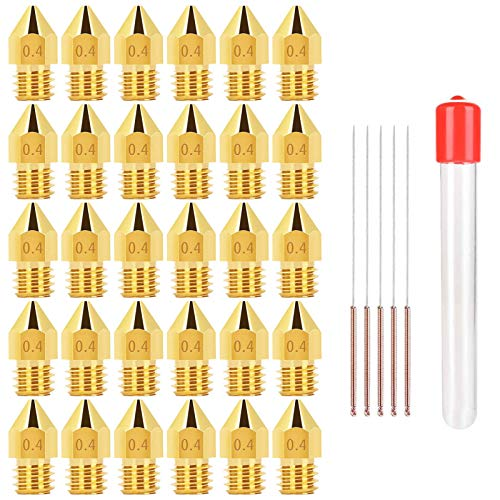 WIFUN 30 Pieces 3D Printer Brass Nozzles Extruder, 0.4MM MK8 Nozzles with 5 Stainless Steel Nozzle Cleaning Needles and Plastic Storage Box