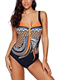 Diukia Women's Tribal Print One Piece Swimsuit Sexy V Neck Tummy Control Monokini Swimwear Push Up Padded Bathing Suit Orange XL