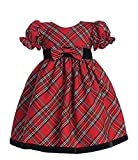 Lito Girls Plaid Christmas Holiday Dress with Velvet Trim - Toddler (4T, Red)