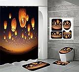 duschvorhang Set 4teilig ,Duschvorhang 240x200cm Halloween 3D Badezimmerteppich 4-teiliges Set,Shower Curtains Wasserdicht mit 12 Duschvorhangringen