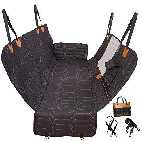 PawVinci 4-in-1 Dog Car Seat Cover, 4 in 1 Convertible Dog Hammock, Waterproof Pet Car Seat Cover with Mesh Window 2 Seatbelts, Non Slip Dog Seat Cover, Back Seat Protector, Fits Cars Trucks SUVs