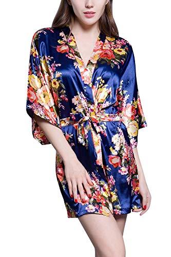 Kristallly Vrouwen Dressing Jurk Kimono 2017 Nieuwe Luxueuze Soepele Bloemen Print Eenvoudige Stijl Satijn Slaapmode Badjas Kimono Negligee Nachtjapon Slaap Shirt Zijde Jurk Losse pyjama