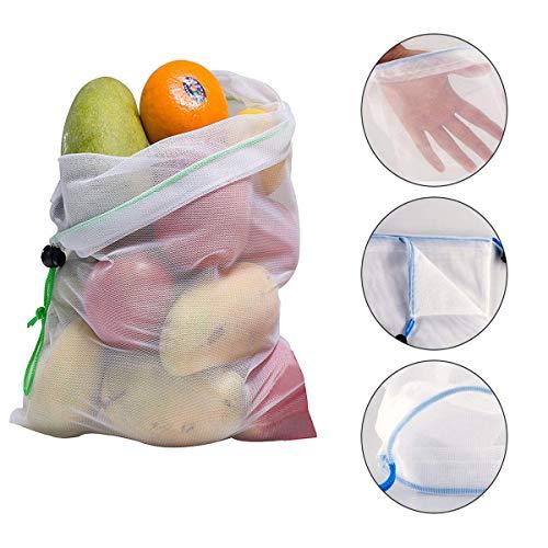TuToy 15Pcs Wiederverwendbare Mesh Produce Bags Gemüse Obst Lagerung Einkaufstasch Lebensmittelbeutel