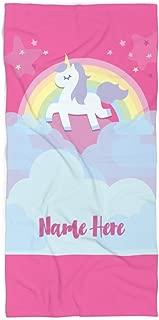 Personalized Unicorn Rainbow Cloud Polycotton Towel for Kids - Custom Girls Unicorn Theme Towels for The Swim Beach Bath Bathroom or Kitchen - Baby Adults Kid Boys Girl (Bath Towel 60
