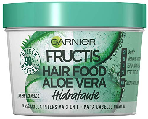 Garnier Fructis Hair Food Mascarilla Capilar 3 en 1 Aloe Vera Hidratante para Pelo Normal Pack de 3, 330ml x 3 : Total de 1170ml