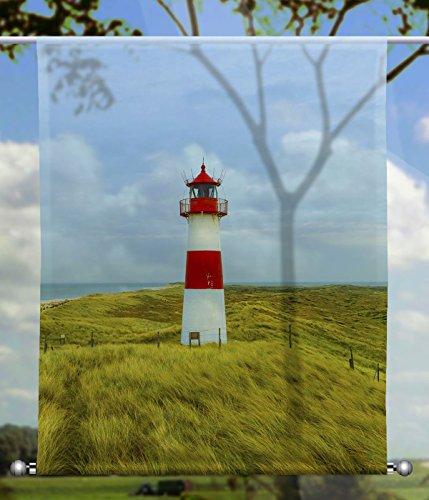 gardinen-for-life Scheibenhänger Leuchtturm Transparent rechteckig mit Beschwerung, Toller Scheibenhänger aus Feiner Voile, Verschiedenen Größen (HxB 100x60cm)