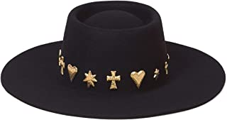 Women's Celestial Wool Boater Hat with Gold Conchos