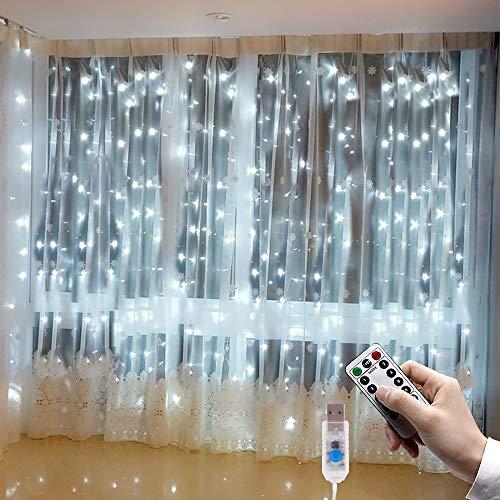 LED Lichtervorhang 3 x 3m Lichterkette Gardine, Etmury Lichterketten Vorhang Fenster 300 LEDs USB Lichterkettenvorhang Wasserfest mit Fernbedien 8 Modi für Party Schlafzimmer Weihnachten Deko (Weiß)