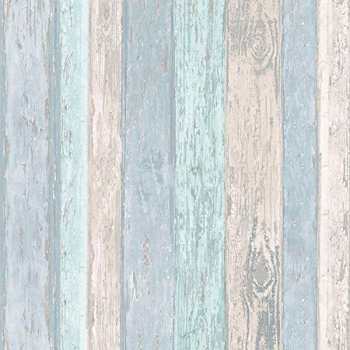 Coloroll Beach Hut Beach Blue M1062 - Papel pintado con purpurina y panel de madera Cla