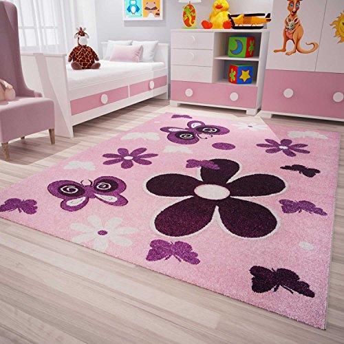 Flair Rugs 90cm x 90cm Rose//Violet Fille Tapis forme papillon