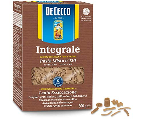 De Cecco Lot de 10 pâtes mixtes intégrales italiennes Whole Wheat (Integral) Mixed Pâte No. 120 500 g.