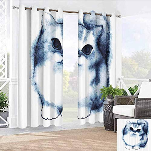 """Anmaseven 96"""" W by 96"""" L(K245cm x G245cm) Navy Blue Decor Porch Privacy Drapes for Pergola Sun Room Cute Kitty Paint with Distressed Color Features Fluffy Cat Best Companion Ever Design"""
