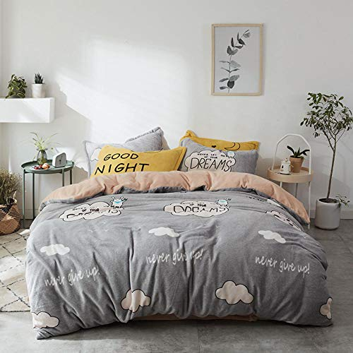 Shinon fleece duvet set teal,Winter thickened double-sided flannel student dormitory three/four piece set of bed linen duvet cover bedding-V_1.2m bed (4 pieces)
