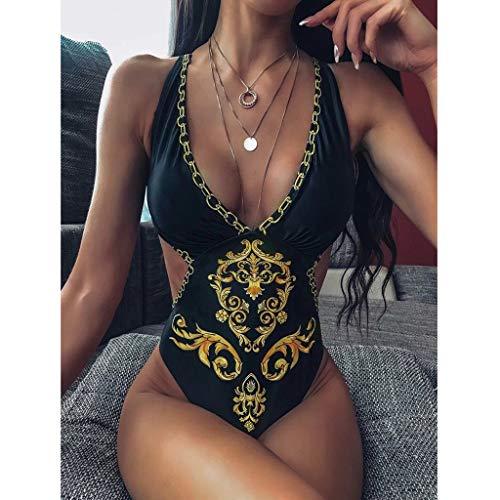 B/N TriLance 1PC Einteiliges Netz Im Ethnischen Stil Frauen Badeanzug Rückenfrei Hohe Taille Bikini Retro Brustpolster Badebekleidung Bauch Kontrolle Schwimmkostüm S,M,L,XL