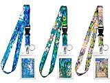 Lot de 3 lanières de modèles assortis avec porte-ID et porte-clés pour clés, professeurs, infirmières. Accessoires de croisière et de travail indispensables. Collection Monet.
