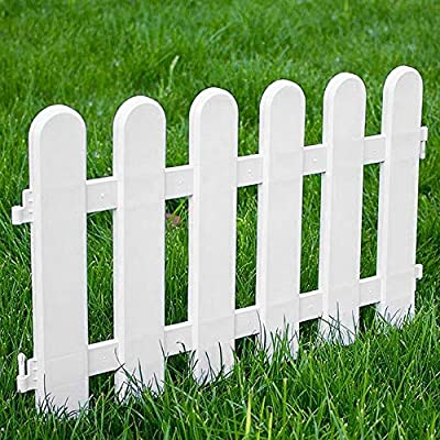 Boshen Pack of 12 Pcs Garden Picket Decorative Fence 19.7In x 11.8In/Pcs, Overall Length 19.7Ft Outdoor Garden Lawn Landscape Edging Pannels Flowerbeds Plant Plastic Borders (Style 2: Round Head)