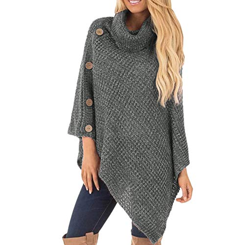Lyexo dames Sweater Turtlenhoek S Knit Turtle Neck Poncho met knoop Irregular Hem Sweater Casual Streetwear