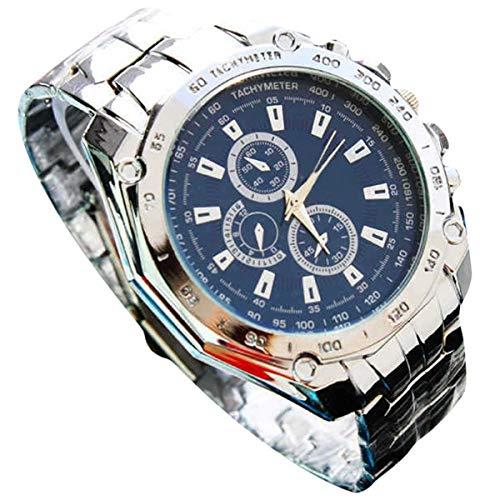 Abstand Armbanduhr FGHYH Männer Cuena Casual Uhren Männer Sport Armbanduhr Quarz Aus Rostfreien Stahl Band Uhr Watch Armbanduhr(Blau)
