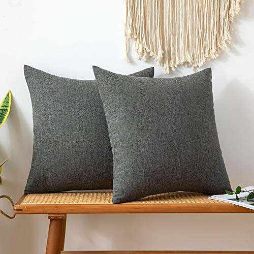 MIULEE Pack of 2 Faux Linen Square Throw Pillow Case Cushion Covers Home for Sofa Chair Couch/Bedroom Livingroom Decorative Home Decor Pillowcases 26x26 Inch 65x65cm Dark-grey