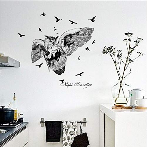 Cyalla Nordic Personalisierte Schwarze Eule Silhouette Pvc Wandaufkleber Für Kinderzimmer Kunst Wohnkultur Aufkleber 50 * 70 Cm