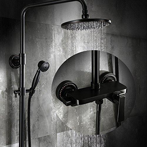 Zwarte badpakken kranen All-Brass muur douches Retro douche Sprinkler warm en koude klep kranen C A