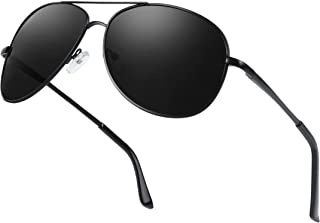 AMZSPORT - Gafas de Sol Polarizadas para Hombre Estilo Piloto con Marco Metálico para Ciclismo, Conducción y Golf