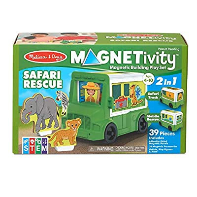 Melissa & Doug Magnetivity Magnetic Tiles Building Playset – Safari Rescue Truck Vehicle (6 Panels, 28 Accessory Magnets, STEM Toy)