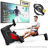 Sportstech RSX500 Vogatore - Marchio di qualità Tedesco - Eventi Video e Multiplayer App - Cintura cardiofrequenzimetro da 39,90€ Inclusa - 16 programmi - Resistenza Magnetica - Pieghevole