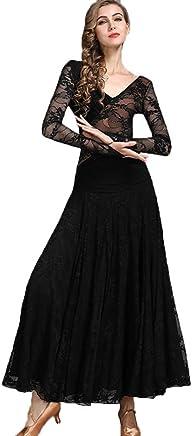 JTSYUXN Women's Ballroom Dance Dress Smooth Big Swing,Waltz Tango Long Sleeve Lace Costumes Competition Dress Performance Skirt