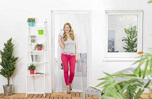 empasa Insektenschutz Lamellenvorhang für Türen Türvorhang Polyester 100 x 220 cm Weiß