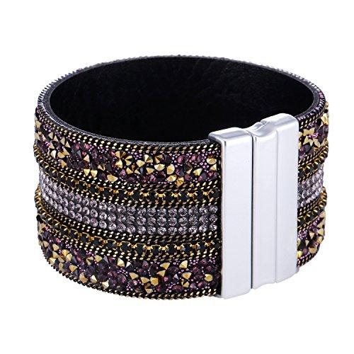 Morella Damen Glitzerarmband breit verziert mit Zirkoniasteinen und Magnetverschluss Gold lila