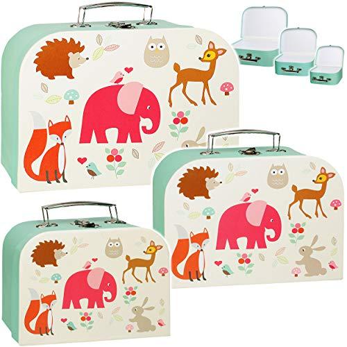 alles-meine.de GmbH 3 Stück _ Koffer / Kinderkoffer - in 3 verschiedenen Größen - Tiere - Zootiere & Waldtiere - Elefant / Eule / REH / Fuchs - Kofferset -...
