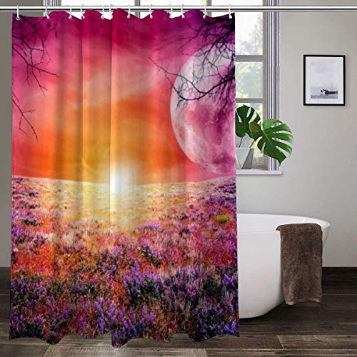XCBN Fleur Printemps Paysage Rideau de Douche Fleur Rose Rouge rétro Design Jardin décoration Murale Rideau de Douche imperméable A1 150x180 cm
