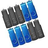 2GB USB Flash Drive 10 Pack JBOS 2 GB USB Drives Memory Stick Swivel 2G Thumb Drives Gig Stick USB2.0 Pen Drive for Date Storage, 2 Gig UBS Flash Drive, Zip Drive, Jump Drive, USB Stick (Black + Blue)