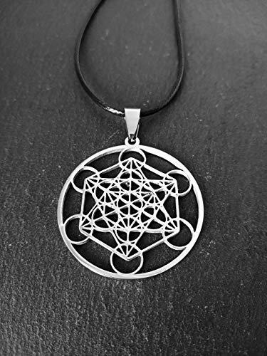 Colgante con el símbolo Metatrón de acero inoxidable, Cubo Metatrón, Collar protección, Geometría sagrada, Ángel Metatrón, Activación energética, conexión universal, regalo hombre