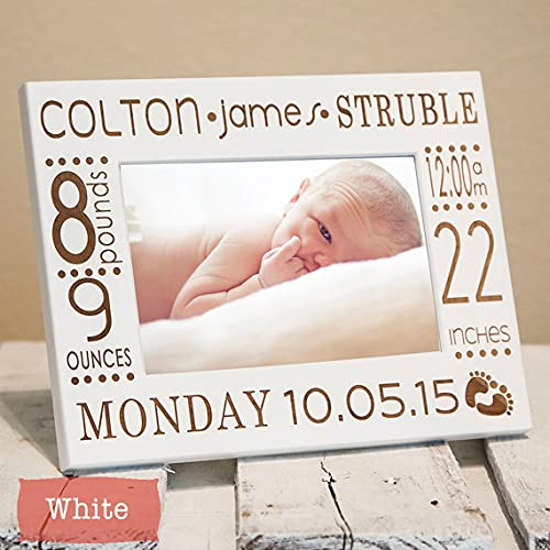 Product Image of the Personalized Birth Announcement Picture Frame with Stats - Newborn Baby Picture...