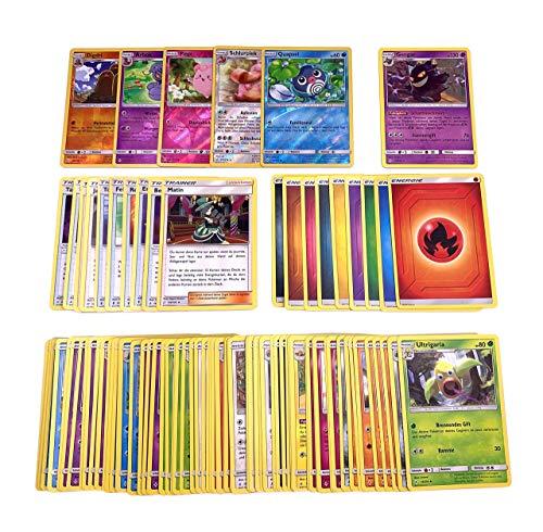 Pokemon 100 Karten - mit Reverse Holos & Rare Karte + GECO® Spielmatte - deutsch