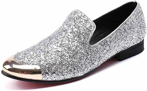 GLSHI Hommes Chaussures Chaussures Chaussures en Cuir Britanniques Nouveau Cuir Pointu Paillettes Chaussures Basses Mode Chaussures habillées pour Femmes 1bc