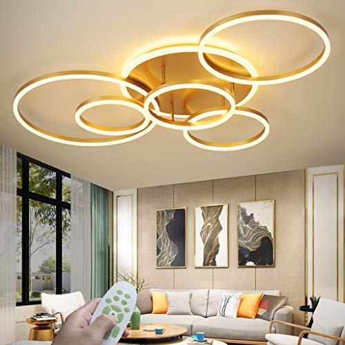 LED Modern Deckenleuchte Dimmbar Wohnzimmer Deckenlampe Creative Runden Deckenlicht Aluminium Acryl Lampenschirm Mit Fernbedienung 3000K-6500K Esstisch Halle Beleuchtung Innenleuchte,Gold