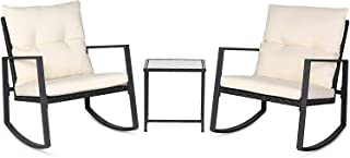 SUNCROWN Outdoor 3-Piece Rocking Bistro Set: Black Wicker Furniture-Two Chairs with Glass..