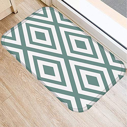 HLXX Alfombra de Gamuza Antideslizante con patrón geométrico Verde, Felpudo para Puerta, Felpudo para Cocina al Aire Libre, Alfombra para Sala de Estar, Alfombra A9 40x60cm