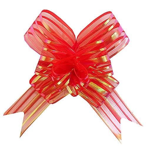 LONLEA Lazos de lazos, lazos de cinta, para envolver regalos de boda, decoración del coche, decoración de flores, regalo de cumpleaños, 50 unidades